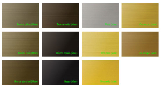 Colores standard aluminio anodizado
