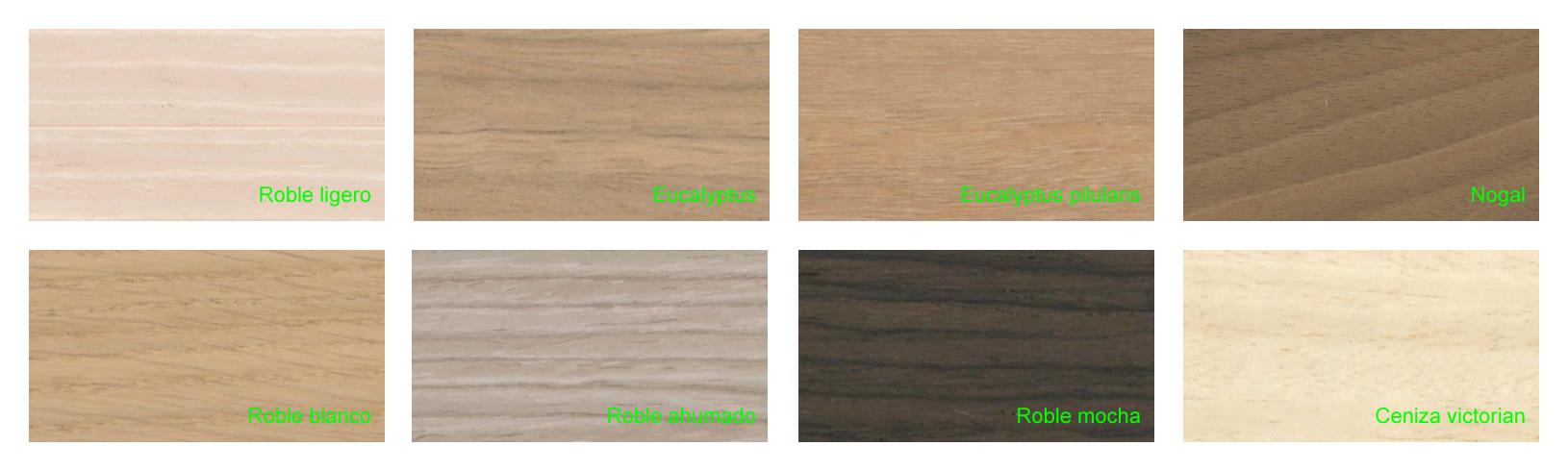 Gama colores aluminio anodizado acabado madera
