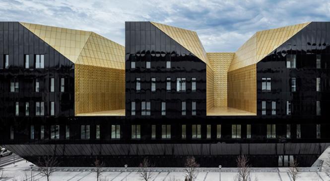 Cubierta paneles aluminio anodizado dorado